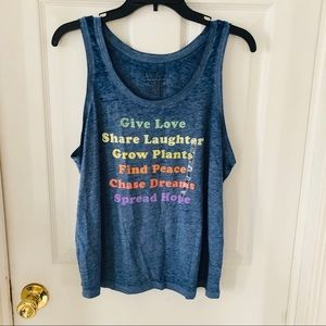 "NWOT blue burn out tank top ""find peace, dreams XL"